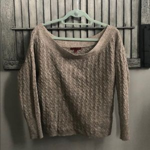 Red by BKE brown/gray off the shoulder sweater
